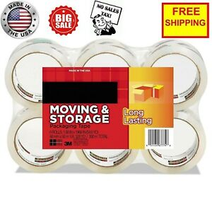 Scotch Moving Storage Packing Tape 6 Rolls Heavy Duty Shipping Packaging