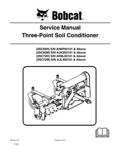 New Bobcat Three Point Soil Conditioner Repair Service Manual 2009 6987449
