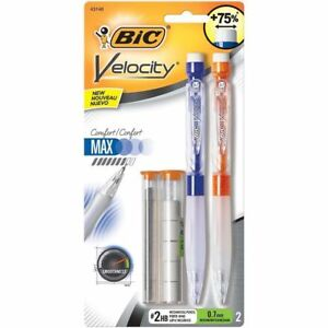 Bic Velocity Max Mechanical Pencil Medium Point 0 7mm 2 pack new