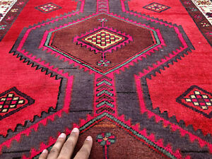 3x9 Red Antique Persian Runner Rug Caucasian Hand Knotted Heriz Serapi Rugs 3x10