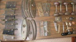 Lot Of Antique Eastlake Victorian Hardware Mortise Locks Door Knobs Backplates