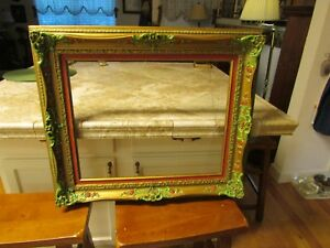 Large Frame 920 Louis Xv Style Solid Wood Gold Colored Rabbet Mat 27x23
