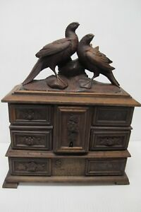 Antique Black Forest Hand Carved Wooden Jewelry Box Birds Figural Floral C1880