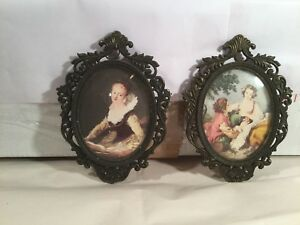 2 Vintage Ornate Metal Oval Floral Picture Frame Made In Italy 5 25