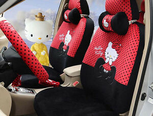 18pc Luxury Hello Kitty Polka Dot Car Universal Seat Cover Set