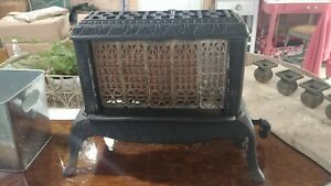 Vintage Very Old Gas Space Heater Cast Iron Brick Heater Ornate Design Beaut