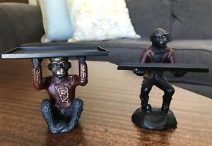 Bombay Company Monkey Bellhop Cast Iron Business Card Pen Holder Desk Set