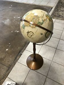 Vintage Replogle 16 World Classic Globe Wood Stand With Metal Base 38 Tall
