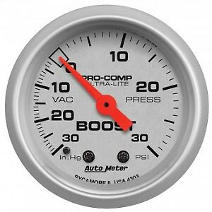 Autometer Am4303 Ultra Lite 52mm 30 Psi Mechanical Boost Gauge