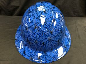 New Full Brim Hard Hat Custom Hydro Dipped Blue Candy Spider Web Free Shipping