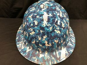 New Full Brim Hard Hat Custom Hydro Dipped Blue Urban Camo Free Shipping