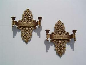 Pair Dart Ind Syroco Antique Gold Double Candle Holder 2 Arm Sconces 4070 Usa