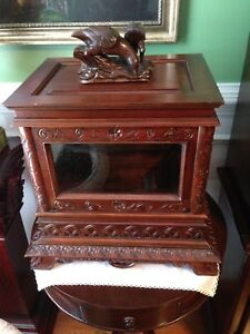 A Beautiful Vintage Style Black Forest Liquor Cabinet With Removeable Top