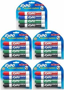 Expo Low Odor Chisel Tip Dry Erase Markers 4 Colored Markers 80174 pack Of