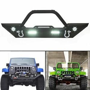 Black Textured Front Bumper W Led Lights For 07 19 Jeep Wrangler Jk Jl