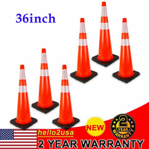 6 Pack 36 Safety Cones 2 Reflective Collars Road Emergency Parking Traffic Cone