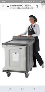 2 Cambro Mdc1520s10hd191 Granite Gray Low Profile 10 Tray Meal Delivery Cart