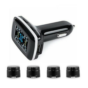 Wireless Lcd Car Tpms Tyre Tire Pressure Monitoring System Beeping Alarm