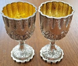 Tiffany Coin Sterling Silver J C Moore Pair Wine Goblets Cups C 1853