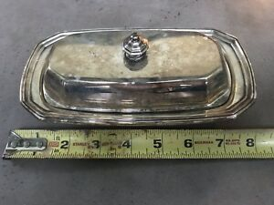 Alden Covered Butter Liner Butter Dish Silverplate Wallace Silver 3piece 5026