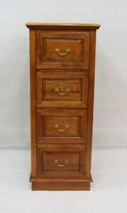 Solid Mahogany Wood 4 Drawer File Cabinet Light Brown Walnut
