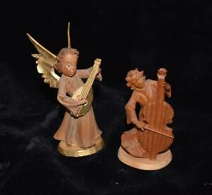 Hand Carved German Miniature Wooden Figurine Angel Playing Sitar 3 5 H Mint