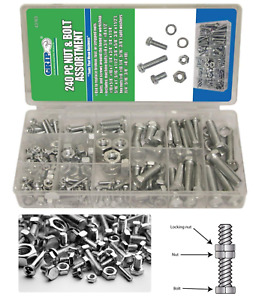 240 Piece Standard Size Sae Nut And Bolt Assortment Variety Diy Kit Pack