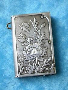 Antique Victorian Match Safe Vesta Or Chatelaine Case Flowers Sterling Silver