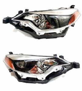 For 2014 2016 Toyota Corolla Black Headlights Set Factory Replacement L r