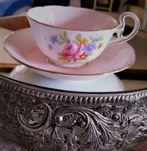Vintage Royal Grafton Tea Cup And Saucer Pink And White Valentine Tea Cup Gift