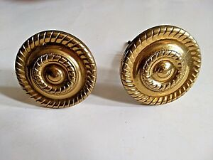 Pair Of Antique Vintage Brass Curtain Rod Ends Decorative Hardware