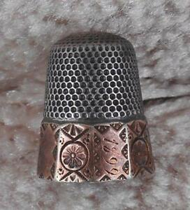 Antique Sterling Silver 10 Panel Gold Band Thimble Dated 1899