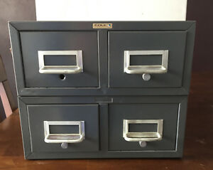 2 Cole Steel 2 Drawer Metal File Cabinets Organizer Vintage Stackable Storage