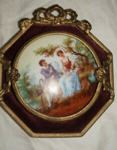 Antique French Love Scene Oval Painted Porcelain Brass Frame Plaques Victorian