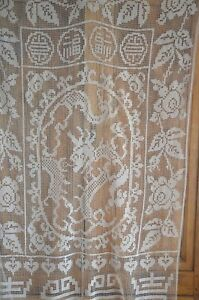 Antique French Hand Knotted Figural Filet Lace Curtain Chinoiserie Dragons