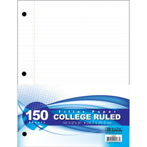 Bazic College Ruled 150 Ct Filler Paper Case Of 24