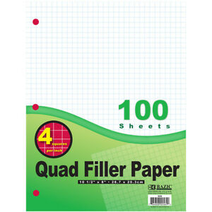 Bazic 100 Ct 4 1 Quad ruled Filler Paper Case Of 36
