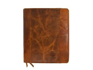 Leather Castle Vintage Zippered Business Organizer Book Style File Folder Case F
