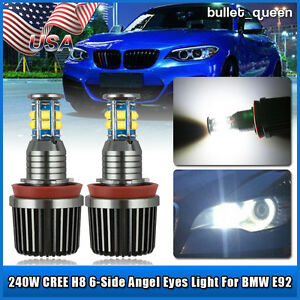 2x 120w Cree H8 Led Angel Eyes Halo Ring Light Bulbs White Waterproof For Bmw