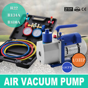 Hvac Manifold Gauge Air Condition A c 1 3 Hp 4 8cfm Vacuum Pump R22 R134a R410a