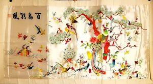 Korean Original Embroidery Painting By Handmade Pheasant And Birds