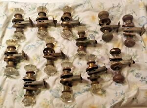 Lot Of Vintage Glass And Brass Door Knobs With Brass Hardware