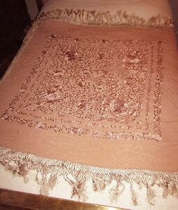 Antique Silk Embroidered Piano Shawl Blush Light Pink On Light Pink Fringe