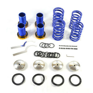 Lowering Silver Scaled Suspension Coilover Blue Spring Fit 88 00 Civic Eg Ek dc
