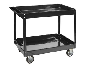 24 In X 36 In Two Shelf Steel Service Cart Moving Tools Parts Storage Auto Shop
