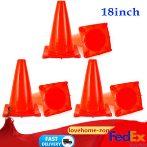 6pcs Traffic Cones 18 Wide Body Fluorescent Red Road Parking Safety Cones