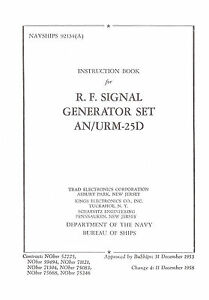 Urm 25d Signal Generator Op Service Manual With Changes 1 4