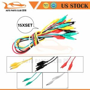 15 Set Color Double Ended Crocodile Clip Cable Alligator Probe Wire Testing New