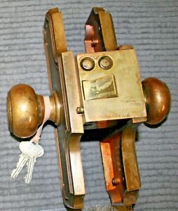 Antique Vintage Brass Russwin Push Button Door Knob Lock Set W Keys