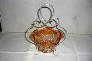 Murano Glass Bride S Basket With Silver Epns Plated Holder Amber Color 1950 S
